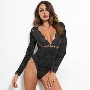 Tops - Sexy Deep V BLACK Lace Bodysuit  New